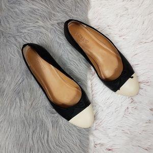 J. CREW Cream Black Cap Toe Leather Ballet Flats